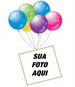 Efeito da foto com balões e um quadro flutuante para adicionar sua foto