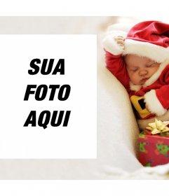 Efeito da foto do Natal com um bebê para carregar o