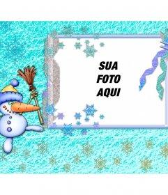 Cartão de Natal com um boneco de neve divertido