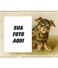 Cartão de Natal do vintage com filhote de cachorro preto e marrom desenhado sorridente segurando um ramo de azevinho com a boca