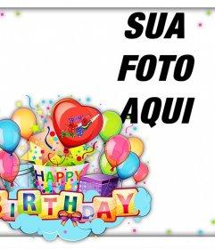 Cartão colorido e alegre para comemorar um aniversário feliz