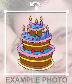 Bolo de aniversário colorido com velas para decorar e cole em sua imagem adesivo