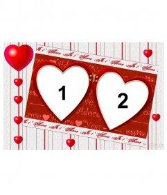 Moldura para duas fotos, para o dia dos Namorados. Editar esta fotomontagem e muitas outras on-line