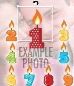 Velas de colocar fotos do aniversário de 1 a 9 anos