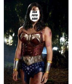 Fotomontagem para se tornar em Wonder Woman upload do seu foto