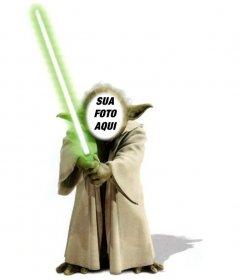 Template da fotomontagem de Yoda de Star Wars para adicionar o seu rosto