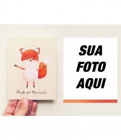 Obrigado cartão com uma raposa bonito onde você pode colocar sua foto