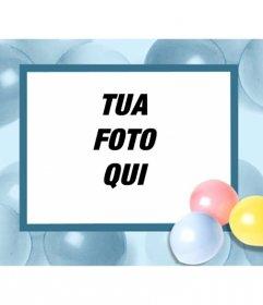 Scheda di compleanno con palloncini, in cui si può mettere la tua foto e inviarlo via e-mail o stampa