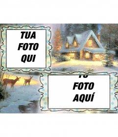 Cartolina di Natale di ricarica dove si può mettere due immagini, lo sfondo villaggio nevoso ed un cervo