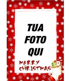 Cornice sfondo rosso con fiocchi di neve e di Natale con i temi che congratularmi con le vacanze