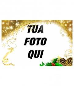 """Struttura della foto di festa con ornamenti d""""oro stelle di Natale. Per personalizzare le tue foto questa festa"""