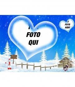 Postale sfondo blu e paesaggio innevato abbiamo accolto pausa invernale, con un cuore a forma di cornice in cui inserire la tua foto