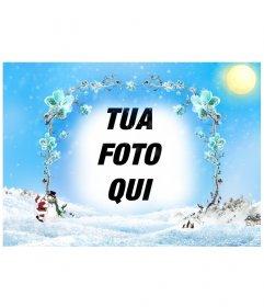 Modello / cornice di un paesaggio innevato con un quadro da rami di fiori di ghiaccio in cui inserire una foto, soprattutto per Natale