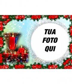 """Cartolina di Natale in cui si inserisce una foto in una cornice circolare circondato da perle lucenti. Il colore di sfondo varia dal celeste al verde e la composizione è Poinsettias bordi rivestiti, pianta tipica del Natale rosso. Vediamo anche un centro tavola composto da una coppa d""""oro circondato da quattro candele accese incarniti. Per ricordare un giorno speciale delle vacanze"""