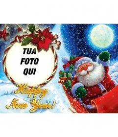 Fotomontaggio di mettere la vostra foto in una cornice arrotondata con un ciclo, in cui Babbo Natale ci si congratula con il nuovo anno