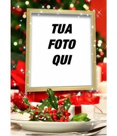 """Cartolina di Natale di mettere una foto all""""interno di una cornice dorata con effetti glitter e decorazioni di Natale"""