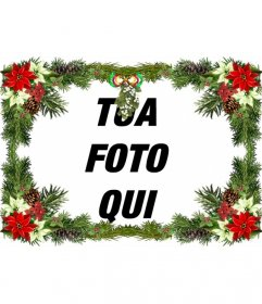 """Cornice per foto con decorazioni per l""""albero di Natale che è possibile utilizzare come un augurio di Natale"""