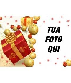 Cartolina di Natale in linea con doni per aggiungere la foto