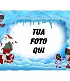 Cartolina di Natale di Babbo Natale sul paesaggio ghiacciato. Dove si può mettere una foto online