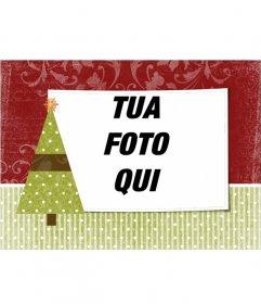 Cartolina di Natale da personalizzare con una foto a tua scelta con albero di Natale ornamento con una stella