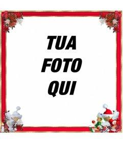 Natale cornice per foto, confine qith rosso e addobbi natalizi. Potete usarlo come un saluto