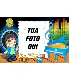 Photo Frame di un bambino canto e strumenti musicali