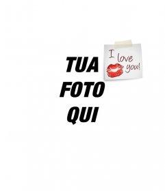 Mettere un postit I LOVE YOU con un bacio sulla foto, perfetto per San Valentino complimento