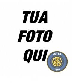 Fotomontaggio di portare il distintivo Inter Milan sulla foto