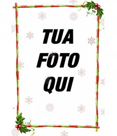 Quadro discreto per una fotografia, è costituito da strisce rosse con strisce verdi, decorato con temi natalizi. Con le diapositive di diverse configurazioni di cristalli di ghiaccio