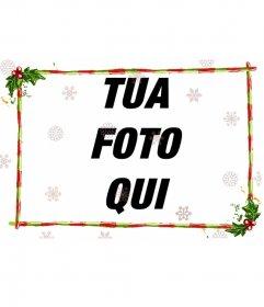 Modificare un immagine da questa pagina con questo modello per fotomontaggio costituito da una parte discreta con il Natale, per una fotografia di larghezza. Ghirlande e bar verde con strisce rosse