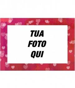 Fotomontaggio template gratuiti modificabile dalla stessa pagina, costituita da telaio cuori rosa per una foto di paesaggio
