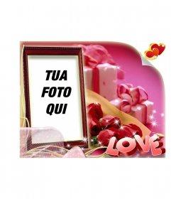 San Valentino cartolina a forma di scatola con sfondo rosa con LOVE di testo