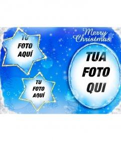 Cornice per tre foto inserite sulla luna e due a forma di stella costellazioni con cui completano questo Natale