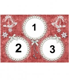 Cartolina di Natale per 3 foto con cornici rotonde e campane di Natale