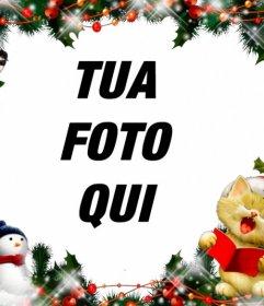 Telaio di Natale per mettere la tua foto con un canto gatto