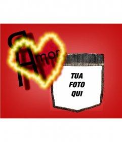 Messaggio di fondo di San Valentino con un cuore rosso. Personalizza con la tua foto