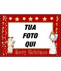 Photo frame di Natale con gli angeli e le stelle da inviare come un saluto