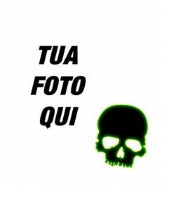 Creare un avatar per Facebook e Twitter con un teschio nero con bordo verde fluorescente su una foto caricata