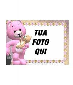 Cornice foto di uno orsacchiotti arancione o rosa altra
