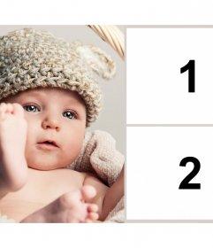 Cornice per due foto con un bel bambino per annunciare una gravidanza