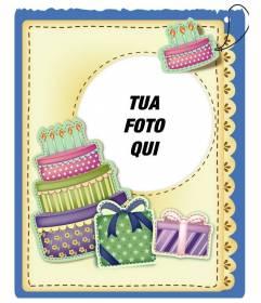 """Scheda di compleanno con torta e regali effetto adesivo messo l""""immagine e le parole di saluto che si preferisce"""