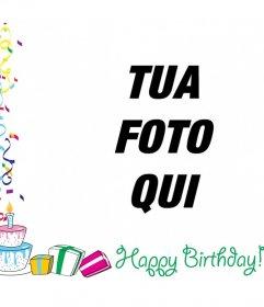 Cornice per foto con testo HAPPY BIRTHDAY con decorazioni, palloncini e regali di compleanno