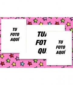 Carta di compleanno personalizzata con 3 foto. Sfondo rosa con stelle colorate. Carica le tre foto ed inviare e-mail