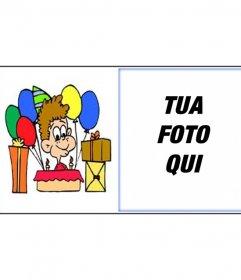 Birthday card con foto del bambino con doni da inviare via e-mail