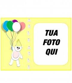 """Biglietto d""""auguri personalizzato giallo con la tua foto con un orsacchiotto e palloncini"""