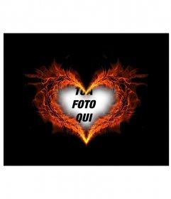 Foto cuore che brucia a forma di cornice dove si può mettere la foto di sfondo