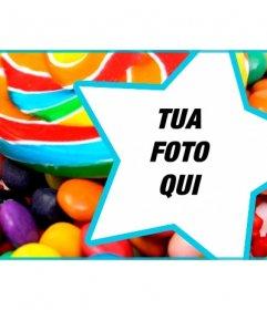 Personalizza il tuo profilo Facebook copertina con caramelle e lecca-lecca e la tua foto allinterno di una stella