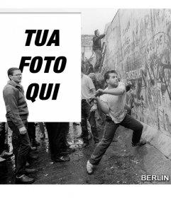 Fotomontaggio della caduta del muro di Berlino nel 1989 per mettere la tua foto accanto alla foto