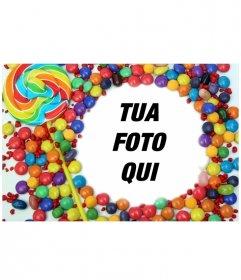 Per le foto con il bordo decorativo di caramelle e lecca-lecca. Frame una foto e salvare o inviare una e-mail al risultato