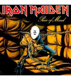 Fotomontaggio della copertina del CD di Iron Maiden per aggiungere il
